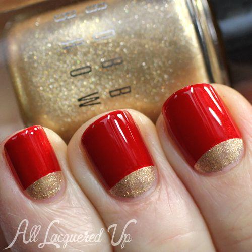 Красный лунный с золотом маникюр фото